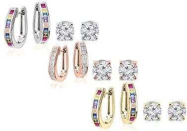 Oval Hoop and Stud Earrings Set Made with Swarovski Crystals (2-Piece)