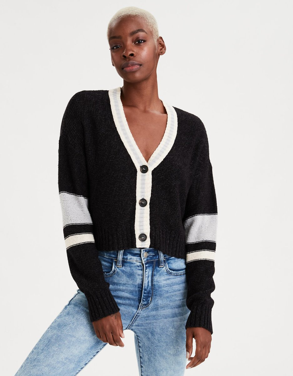 American Eagle Striped Cropped Button Up Cardigan (2 Colors)