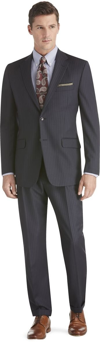 Signature Collection Traditional Fit Stripe Suit