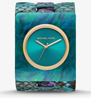 Willa Python-Embossed Leather and Marbled Acetate Watch   Michael Kors
