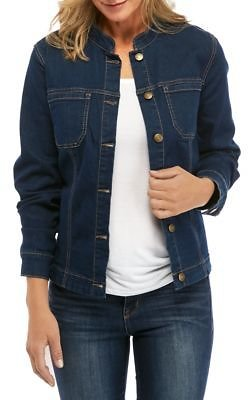 Kim Rogers® Women's Mandarin Collar Denim Jacket