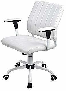 COMHOMA White Desk Chairs with Wheels/Armes Modern PU Leather Office Chair Midback Adjustable Home Computer Executive Chair On Wheels 360° Swivel