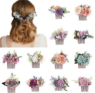 Women's Flower Hair Comb Slide Clips Pins Wedding Bridal Hair Accessories Party