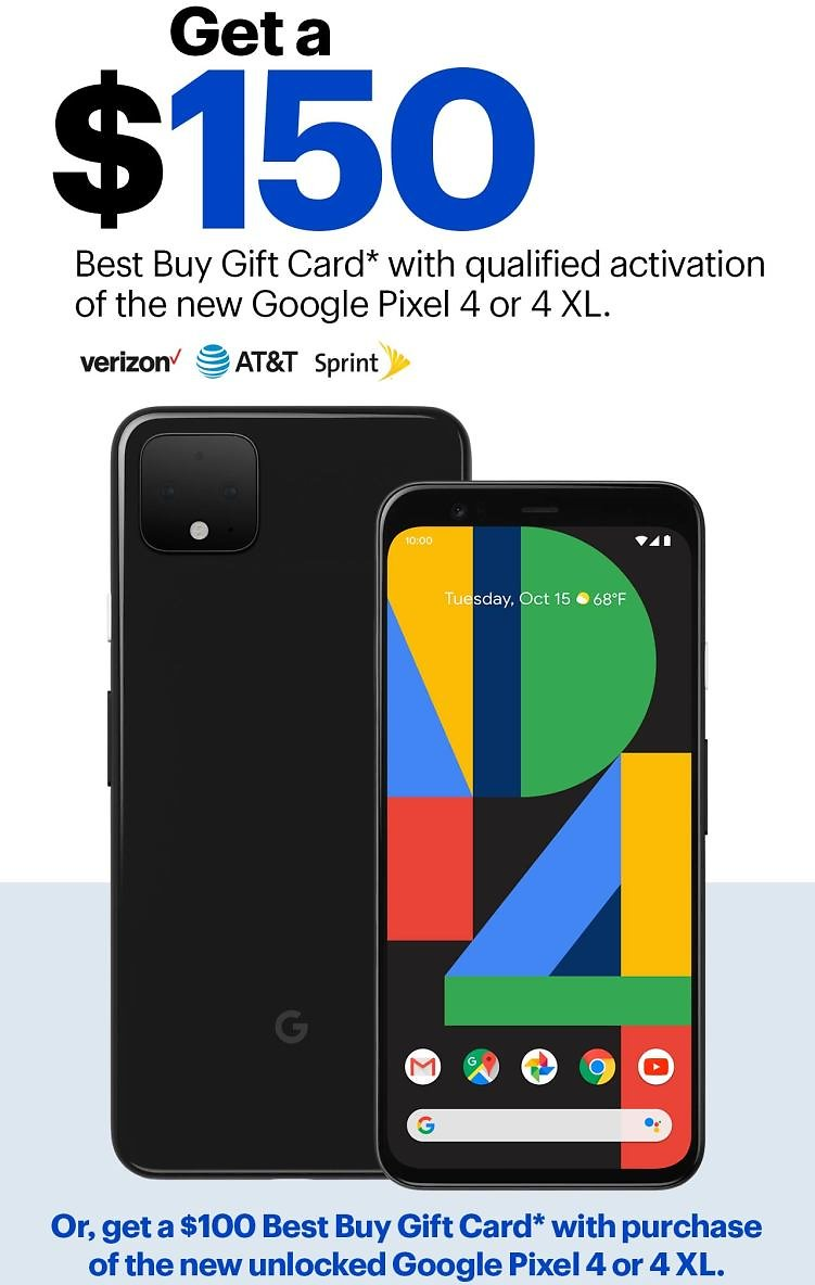 Get a $300 Best Buy GC W/ New Google Pixel 4 or 4 XL On Verizon, AT&T or Sprint