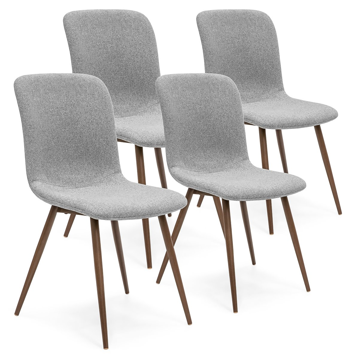 Best Choice Products Polyester Upholstered Mid-Century Modern Dining Room Chairs, Set of 4, Gray