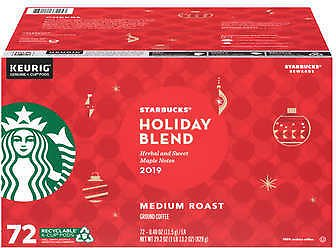 Starbucks Coffee Holiday Blend K-Cup Pods, 72ct