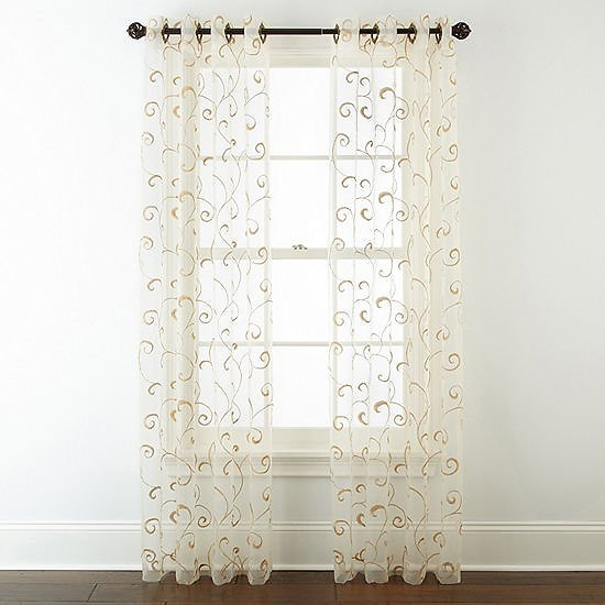 Home Plaza Embroidery Grommet-Top Sheer Curtain Panel