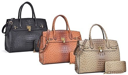 DS Collection Ostrich Embossed Handbag and Matching Wallet