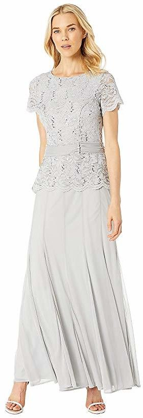 MARINA Short Sleeve Mock Two-Piece Gown w/ Lace Bodice, Solid Skirt   6pm