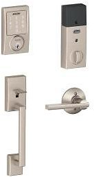Schlage Century Satin Nickel Sense Smart Door Lock with Latitude Lever Door Handleset