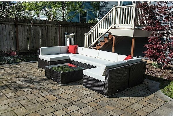 Merton 7 Piece Rattan Sectional Seating Group with Cushions  (Available Color: Grey/Dark Grey) + F/S