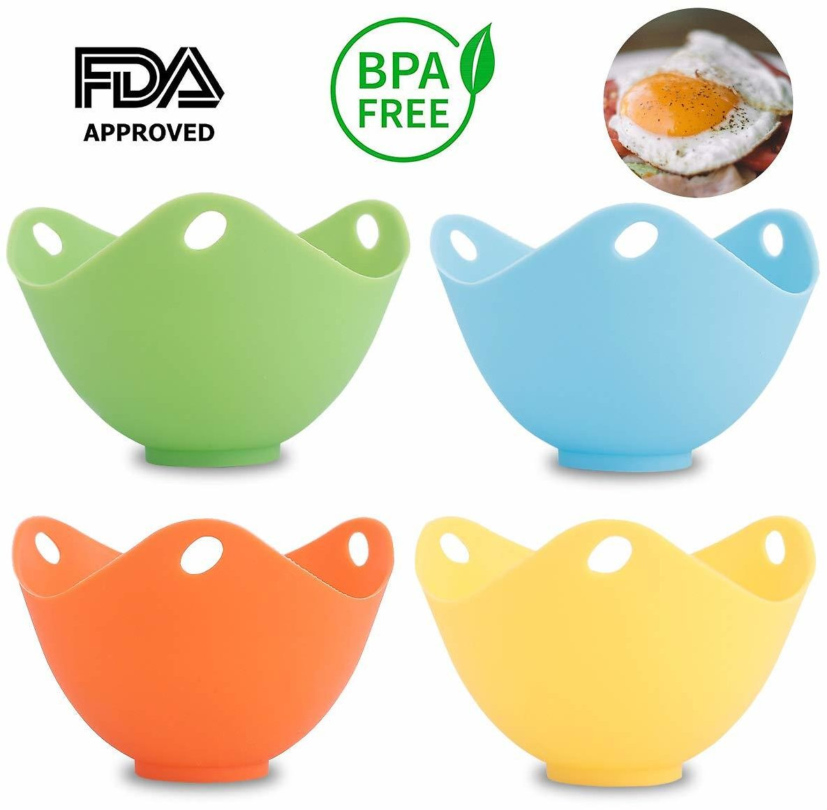 Amabest 4pcs Egg Poacher with Stand FDA Mini Silicone Egg Cooker Egg Cups Egg Accessories No BPA Silicone Bowl Egg Poacher Maker, for Microwave, Egg Poacher Pan, Egg Poachers Cookware, Stovetop