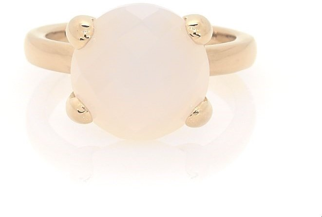 White Agate Ring Bronze/14K Yellow Gold-Plated