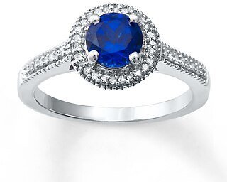 Lab-Created Sapphire Ring 1/8 Ct Tw Diamonds Sterling Silver|Kay