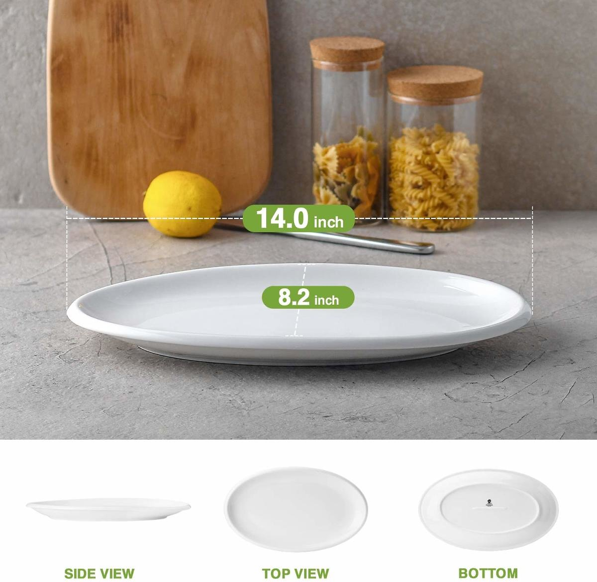 DOWAN 14 Inches Porcelain Oval Platters, Serving Plates, 2 Packs, White, Stackable