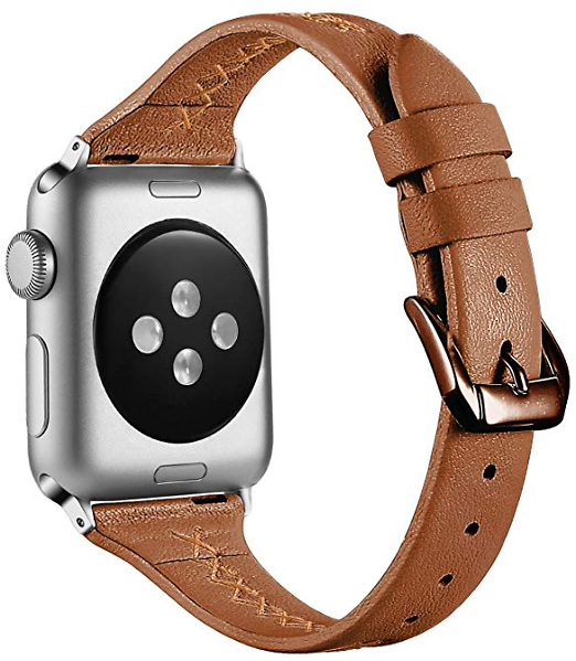 KOLEK Slim Leather Band Compatible with Apple Watch Series 4 3 2 1, Elegant Top Grain Thinner Leather Replacement Strap for IWatch 40mm 44mm 38mm 42mm, Unique X-Line Design for Women