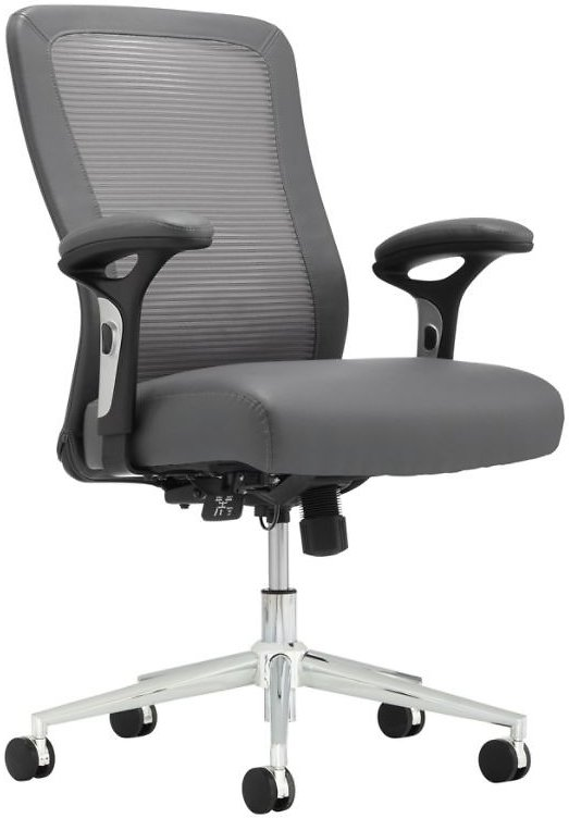 Realspace® Modern Comfort Cassia Mesh/Bonded Leather Mid-Back Manager's Chair, Gray/Silver