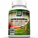 Potent Naturals Ashwagandha 1300mg 120 Vegetable Capsules - Organic Root Powder Extract with Black Pepper - Thyroid, Anxiety Relief, Adrenal, Cortisol Support - Non-GMO, Soy, Gluten-Free: Health & Personal Care