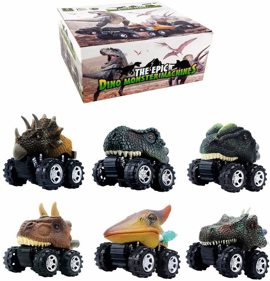GreenKidz Dinosaur Toys Pull Back Cars Dinosaurs Party Favors Games Dino Toy for 3 Year Olds Boys Kids and Toddlers The Epic Dino Monster Truck Machines 6 Pack Birthday Gifts Supplies T-rex