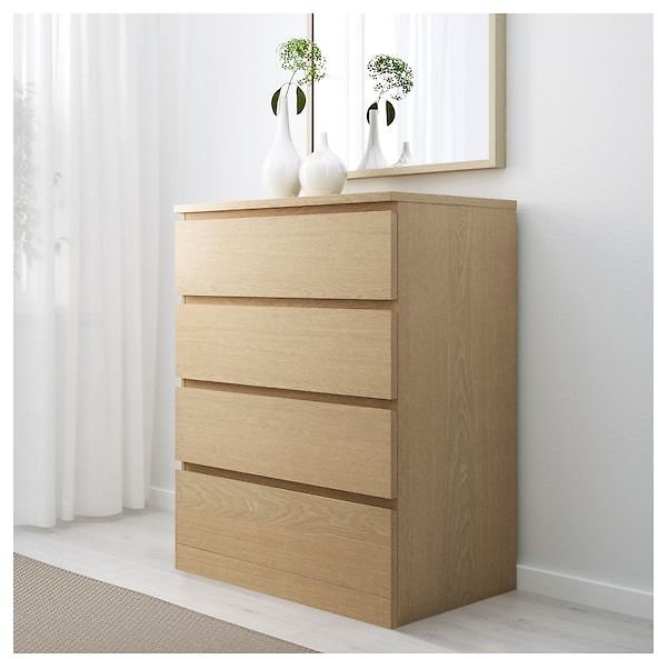 MALM 4-drawer Chest, White Stained Oak Veneer, 31 1/2x39 3/8