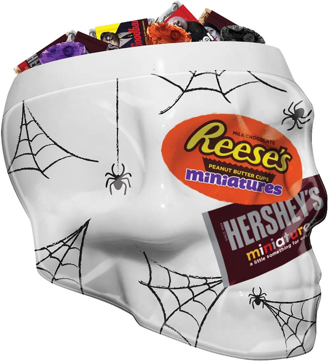 Hershey's, Halloween Miniatures Assorted Chocolate Candy Skull Bowl, 115 Pieces, 37 Oz