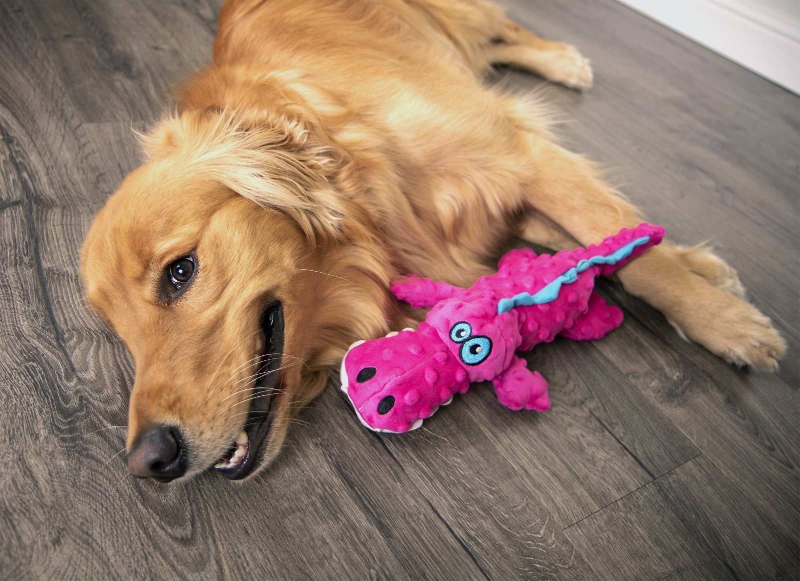 GoDog® Gators™ with Chew Guard Technology™ Durable Plush Squeaker Dog Toy, Pink, Large