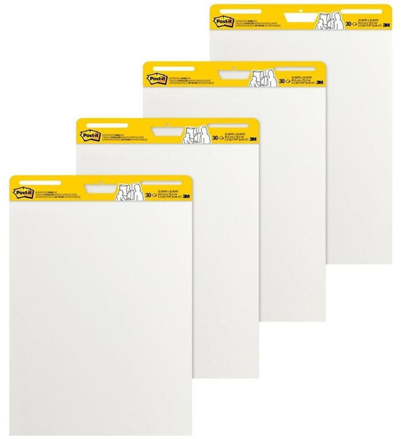 Post It Notes Super Sticky Easel Pads 25 X 30 White 30 Self Stick Sheets Per Pad Pack Of 4 Pads - Office Depot