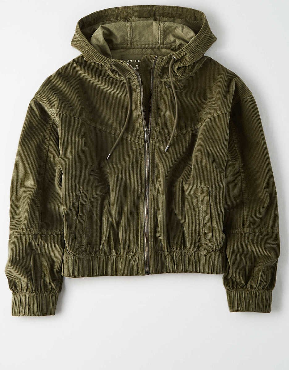 American Eagle Corduroy Cropped Bomber Jacket (2 Colors)