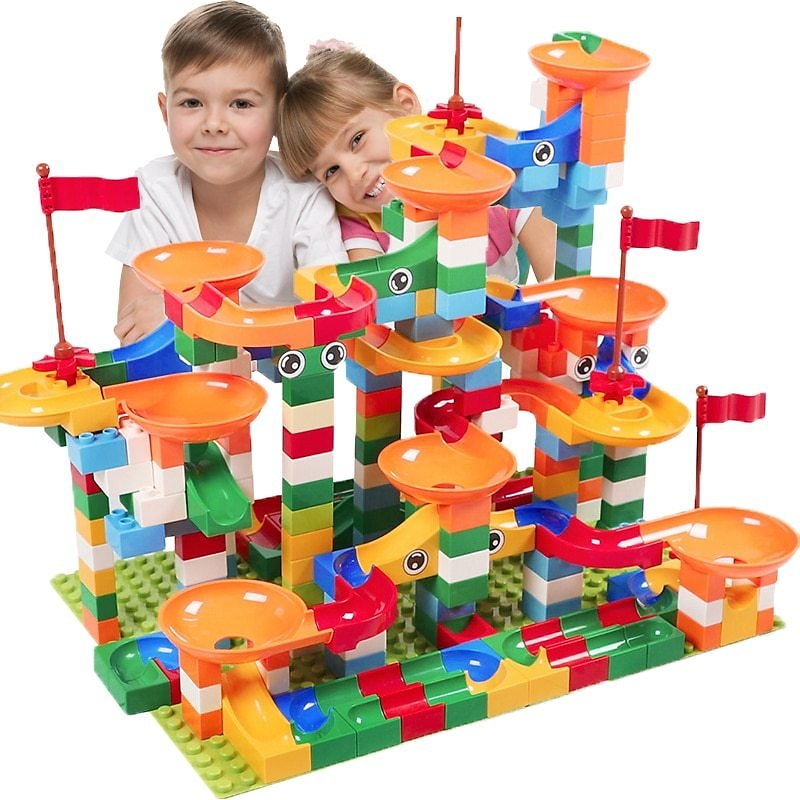 74 PCS Marble Race Run Block Compatible LegoINGlys Duploed Building Blocks Funnel Slide Blocks DIY Bricks Toys For Children