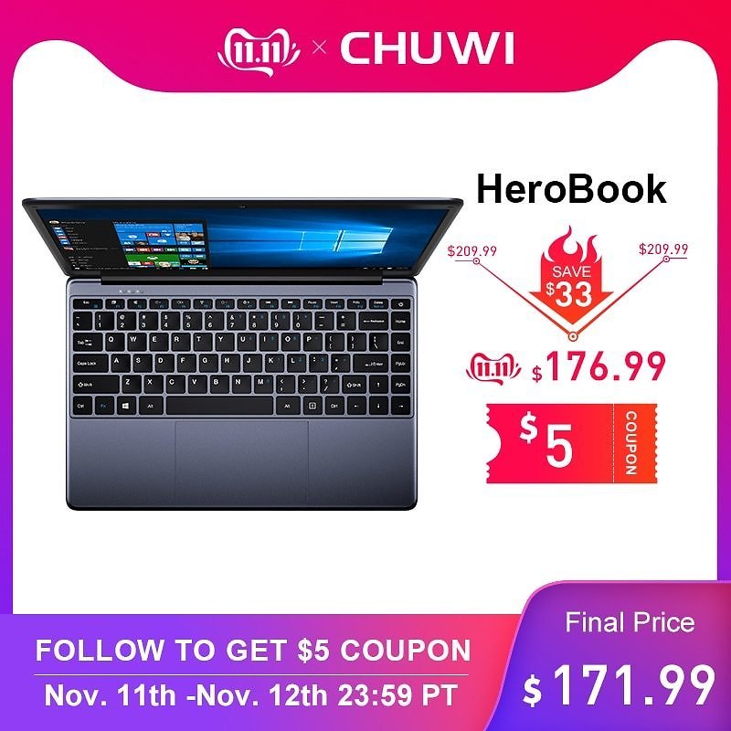 US $209.86 17% OFF|CHUWI HeroBook 14.1 Inch 1920*1080 Laptop Windows 10 Intel E8000 Quad Core 4GB RAM 64GB ROM Notebook with Full Layout Keyboard-in Laptops from Computer & Office On AliExpress - 11.11_Double 11_Singles' Day