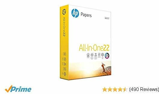 HP Printer Paper, All In One22, 8.5 X 11 Paper, Letter Size, 22lb Paper, 96 Bright, 500 Sheets/ 1 Ream (207010R) Acid Free Paper