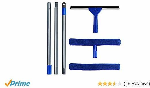 Mastertop Professional 2-in-1 Window Squeegee Set Includes 1 Squeegee 1 Extension Pole and 1 Refill Cloth,1 Microfiber Squeegee Head Scrubber for Cleaning Car Window Glass Blue