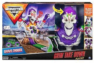 Monster Jam Grim Take-down Playset Featuring Exclusive 1:64 Scale Die-Cast Grave Digger Monster Truck