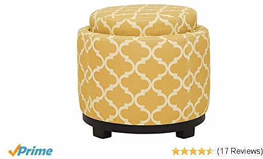 Ravenna Home Morrocan Storage Ottoman with Tray - 19 Inch, Yellow and Cream