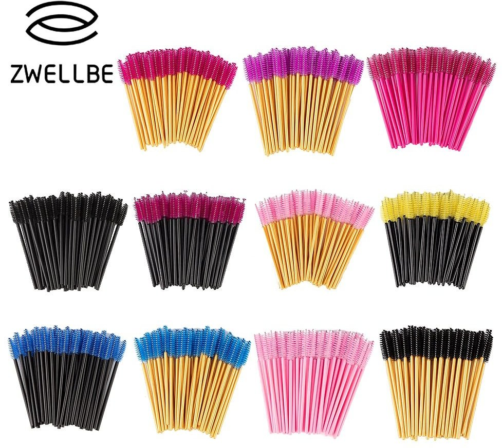 US $3.3 |zwellbe New Good Quality Disposable 50 Pcs/Pack Eyelash Eye Lash Makeup Brush Mini Mascara Wands Brush Eyelash Extension Tool-in False Eyelashes from Beauty & Health On AliExpress