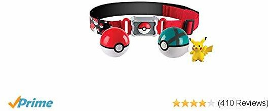 Pokémon Clip and Carry Poké Ball Adjustable Belt with 2 Inch Pikachu Figure, Poké Ball, and Grass Type Nest Ball - Gotta Catch 'Em All