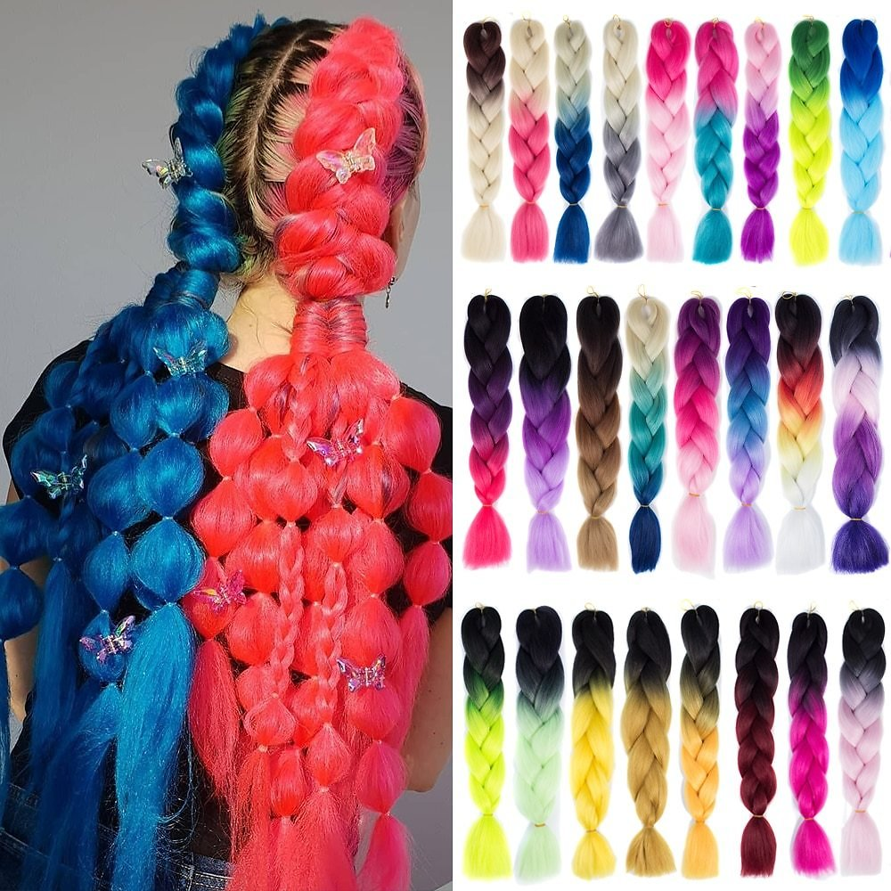 US $1.39 58% OFF|Synthetic Hair Braids Ombre Braiding Hair Extension Box Braids Hair Pink Purple Yellow Golden Colors Crochet Braids-in Jumbo Braids from Hair Extensions & Wigs On AliExpress