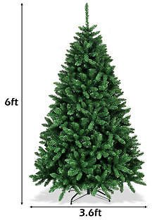 Costway Costway 6ft Hinged Artificial Christmas Tree Unlit Douglas Full Fir Tree w/ 1355 Tips