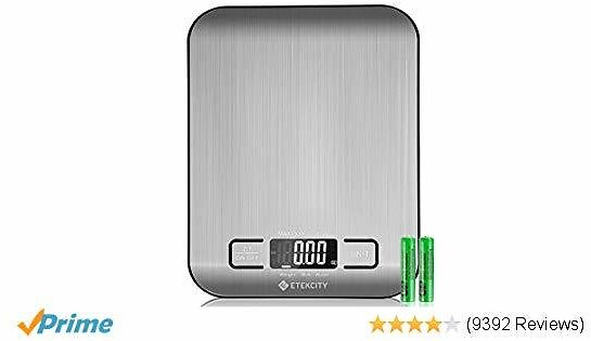 Etekcity Food Digital Kitchen Scale Weight Grams and Oz for Baking and Cooking, Small, Stainless Steel(2019 Upgraded)