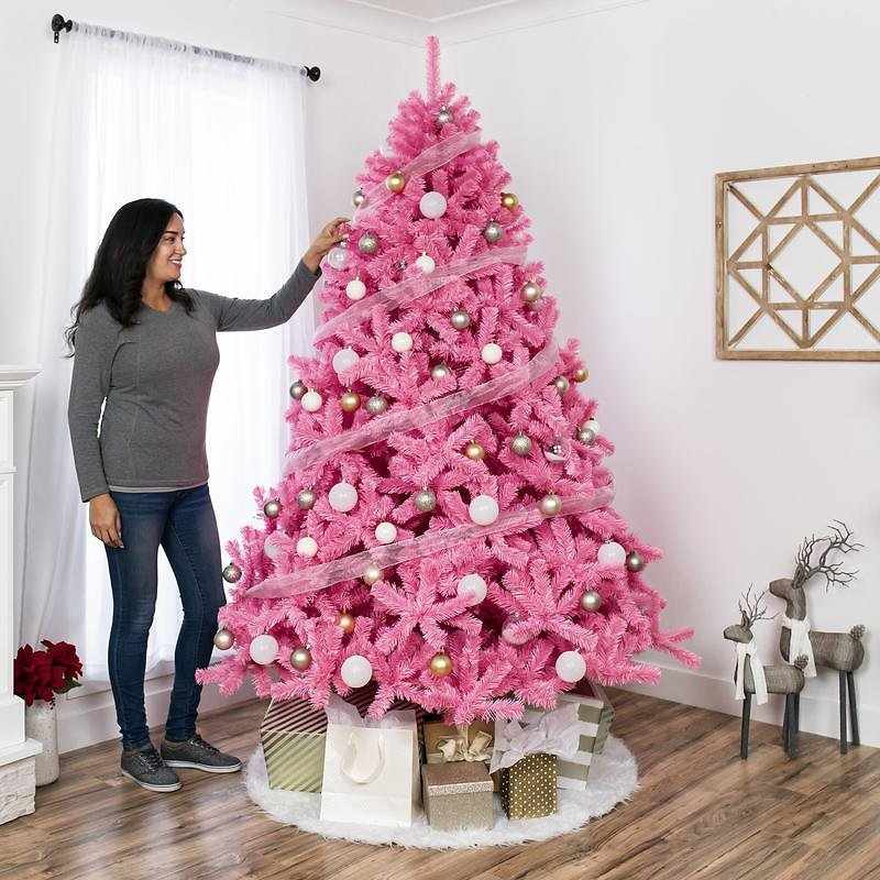 6' Pink Artificial Christmas Tree w/ Foldable Stand