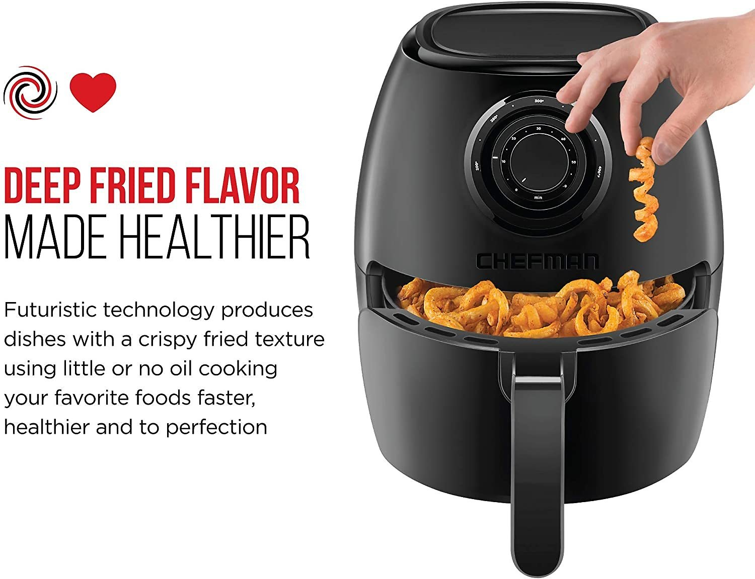 Chefman TurboFry 3.6-Quart Air Fryer Oven w/ Dishwasher Safe Basket and Dual Control Temperature