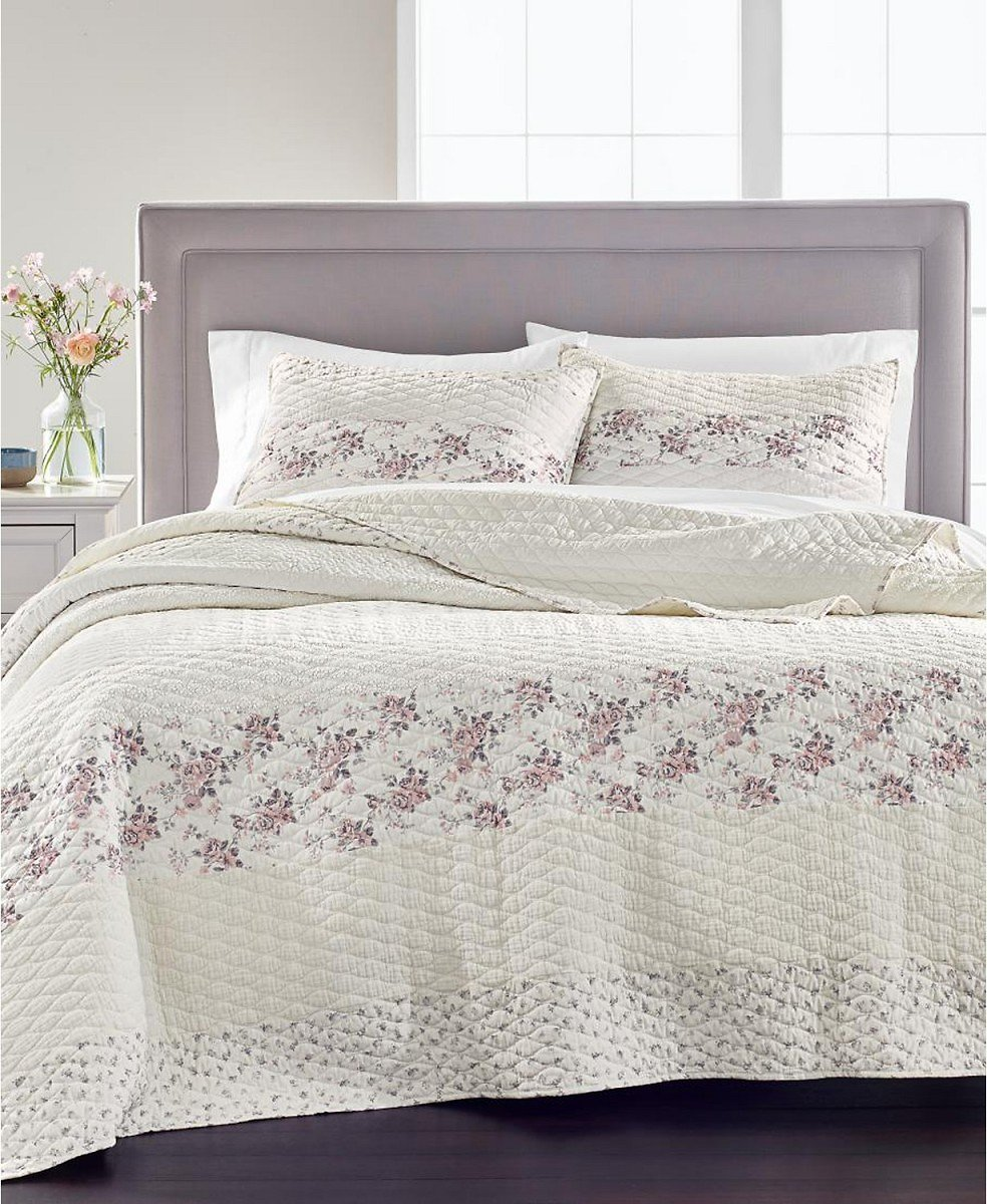 Martha Stewart Collection Textured Floral Stripe Twin Quilt, Created for Macy's