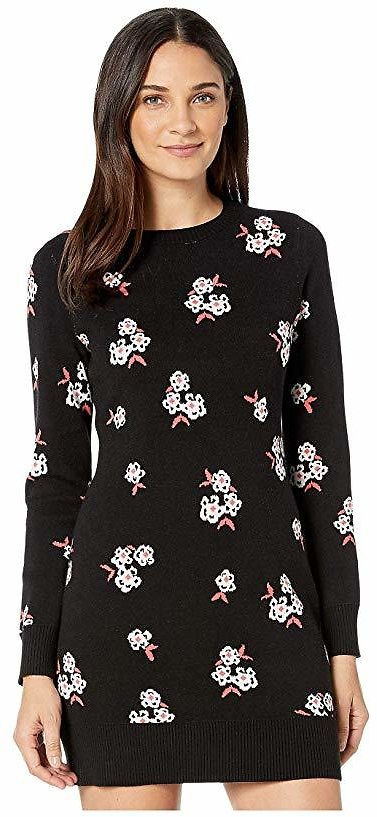 Tossed Floral Jacquard Sweater Dress