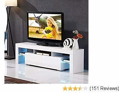 Mecor High Gloss TV Stand with LED Lights, Modern White TV Stand for 65 Inch TV LED TV Stand with Storage and 2 Drawers Living Room Furniture (White)