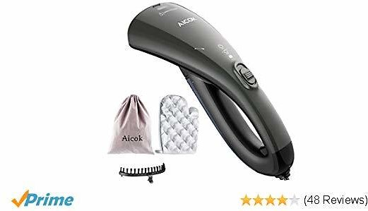AICOK Steamer for Clothes, Dual Steam Setting Travel Garment Steamer, 20s Fast Heat-up Travel Iron, 1000W Handheld Steamer with Travel Pouch, Heat Resistant Mitt and Brush