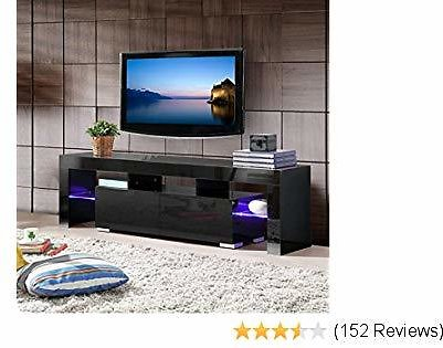 Mecor Modern Black TV Stand with LED Lights, High Gloss TV Stand for 65 Inch TV LED TV Stand with Storage and 2 Drawers Living Room Furniture(Black)