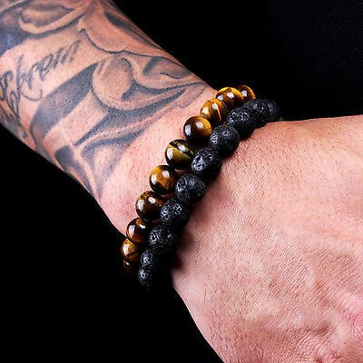 2PCS Men Classic Lava Rock Tiger Eye Gem Stone Beaded Healing Bracelet Boyfriend 796914232384