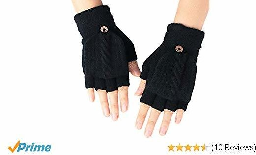 Flammi Women's Warm Knitted Fingerless Gloves Convertible Mittens (Black)