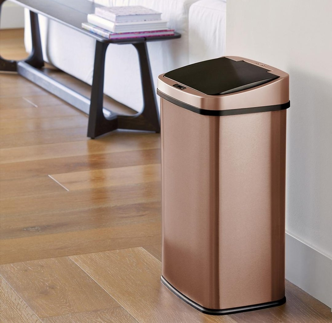 Nine Stars 13.2-Gal. Stainless Steel Sensor Trash Can - Gold