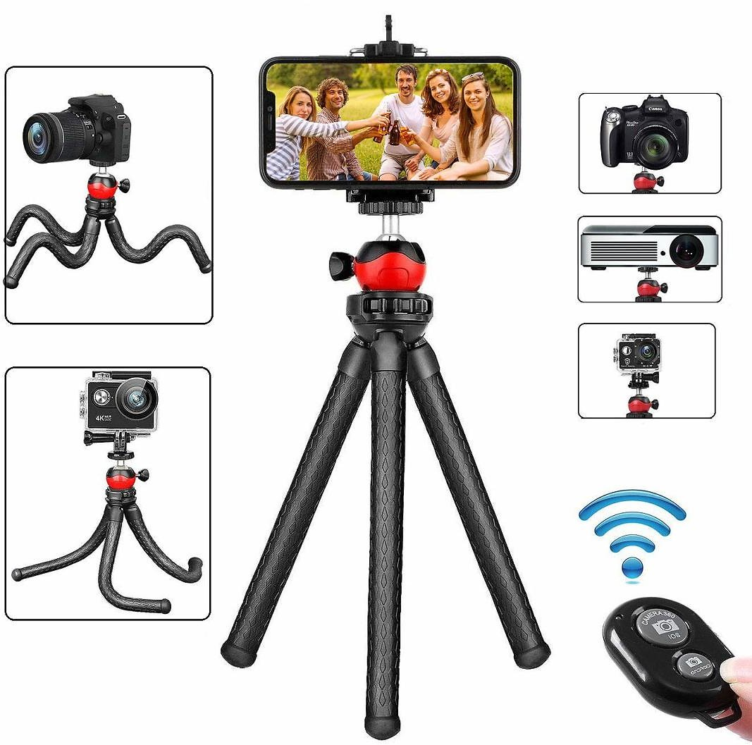 (Only $17.99) Flexible Cell Phone Camera Tripod with Wireless Remote for iPhone Samsung Android Phones